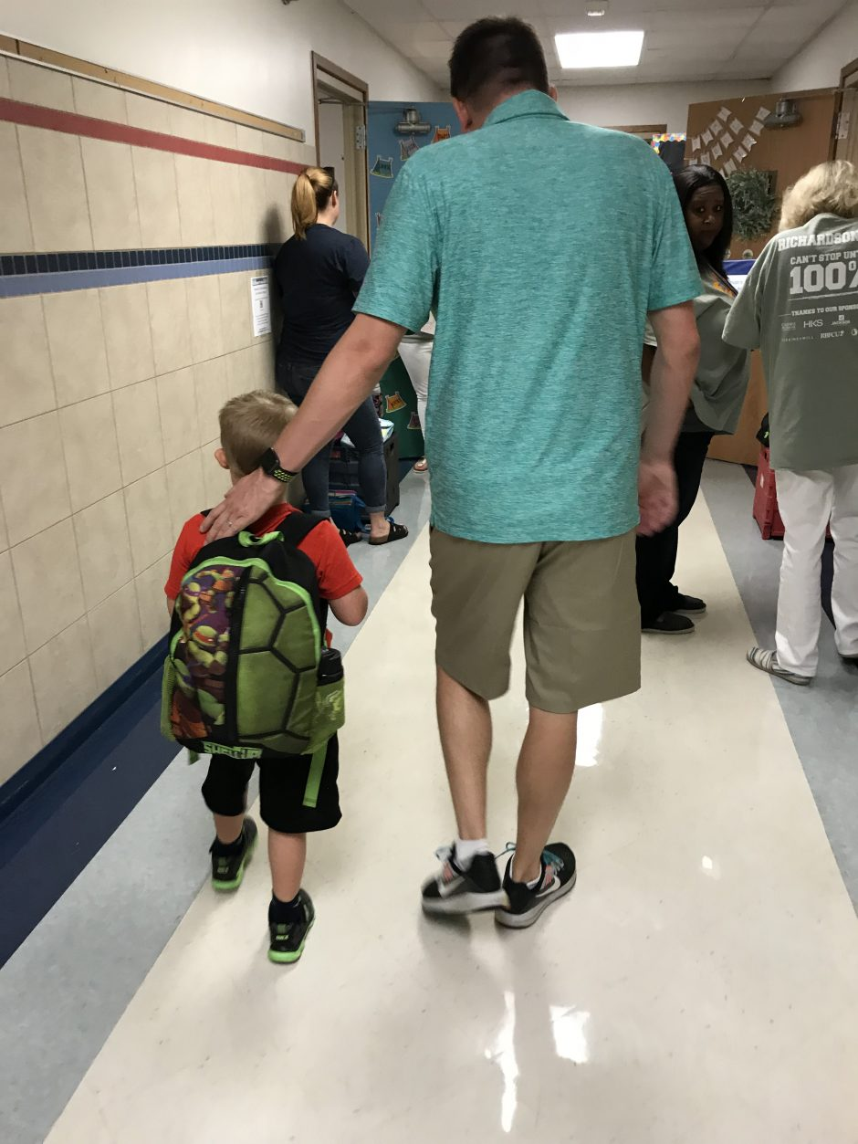 child with down syndrome first day of first grade