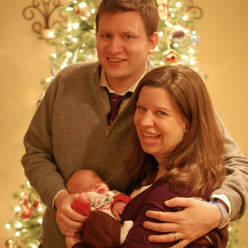 new born with down syndrome at Christmas