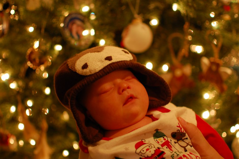 new born with Down syndrome Christmas tree