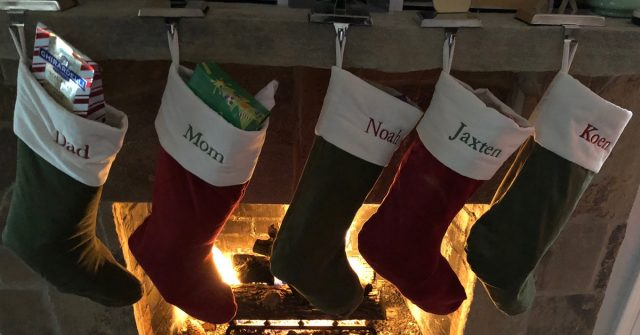 christmas 2017 special needs family stockings over fireplace
