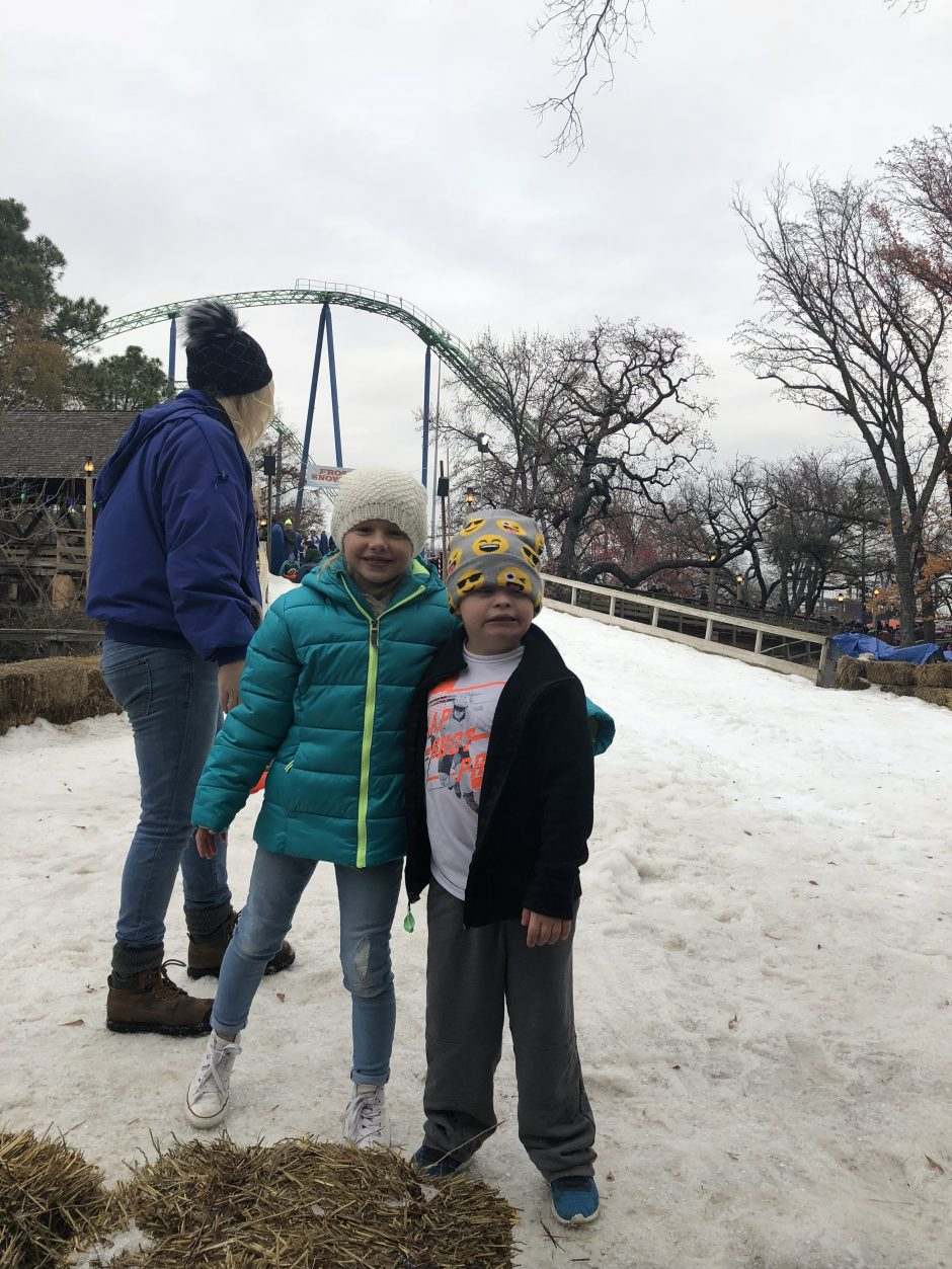 children at the frosty snow hill at six flags