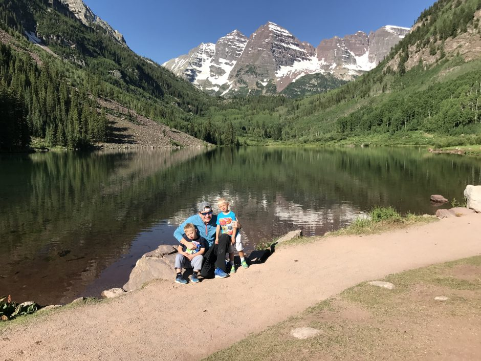 dad with sons at maroon bells aspen colorado