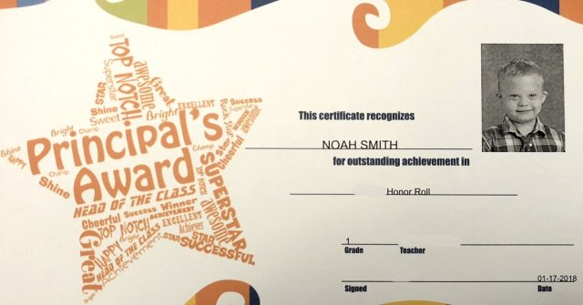 first grade honor role child with special needs
