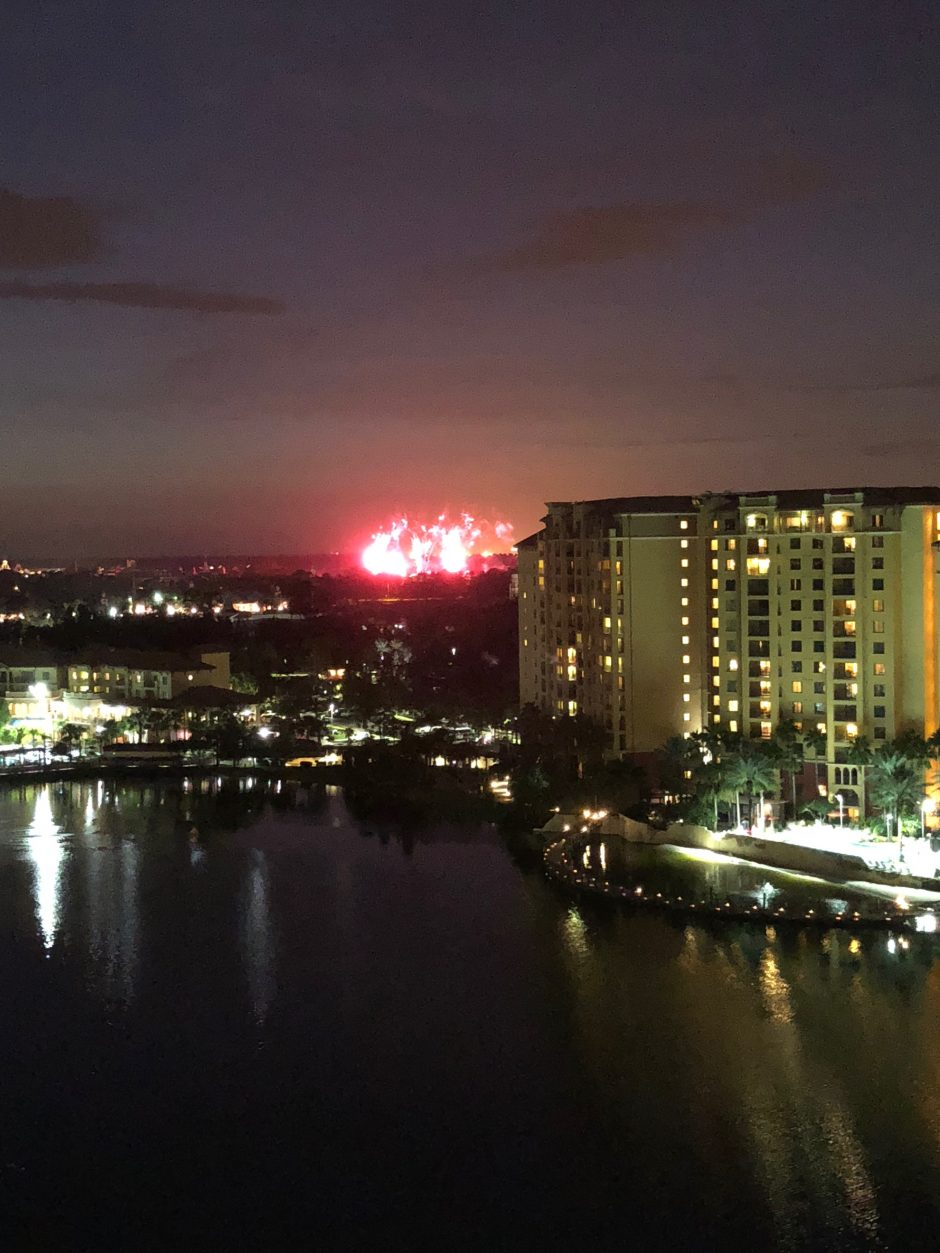 fireworks at epcot from wyndham grand orlando disney